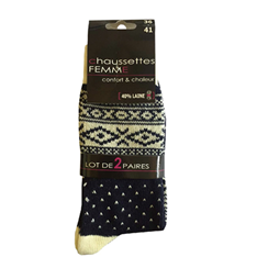 chaussettes Laine Fsy x2 Beige